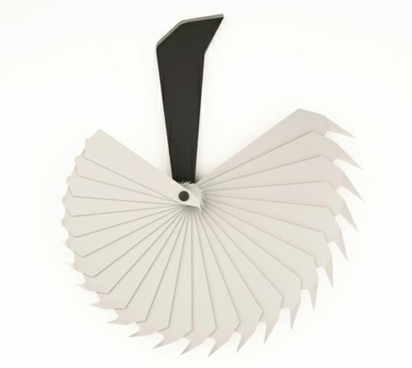 wanduhr design plastik weißer fächer