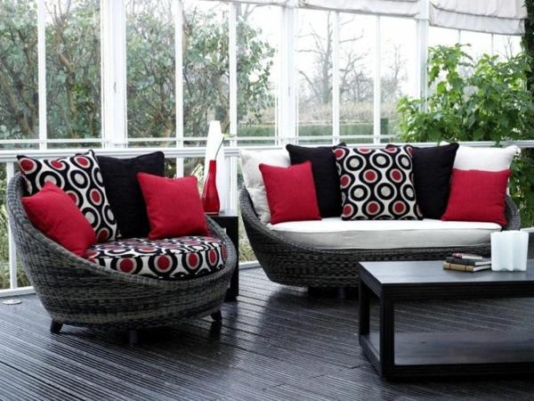 wohnraum wintergarten gestalten bequeme rattanmöbel wohnwintergarten