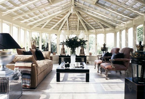 wohnraum wintergarten gestalten schicke wohnzimmer möbel wohnwintergarten bilder