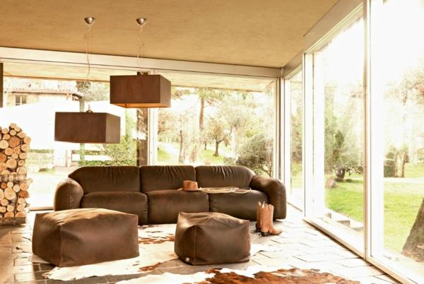 Wohnung Dachgeschoss Design Wohnzimmer In Braun Wei 223 ...