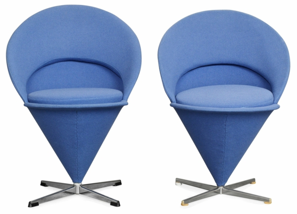 wohnungsgestaltung ideen werner panton blaue stühle