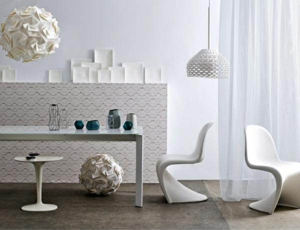wohnungsgestaltung weißer designer stuhl verner panton
