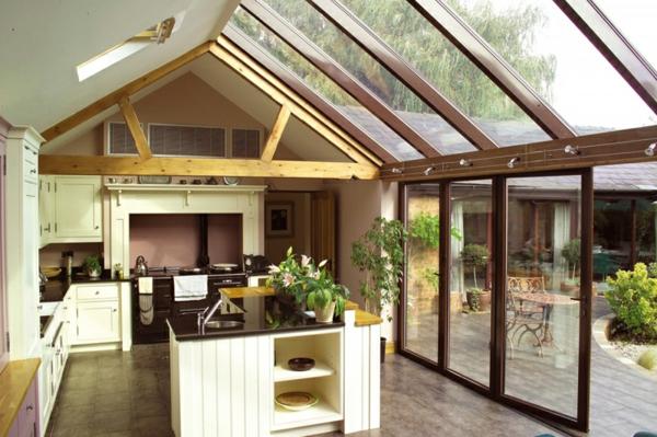 wohnwintergarten bilder wohnraum wintergarten einrichten küche kochinsel bodenfliesen