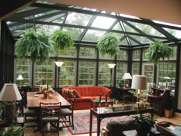 wohnwintergarten bilder wohnzimmer möbel zimmerpflanzen zimmerfarne pflanzenampel