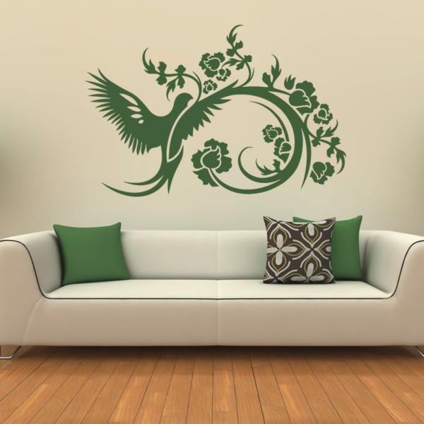 wohnzimer wände gestalten elegante wandmalerei