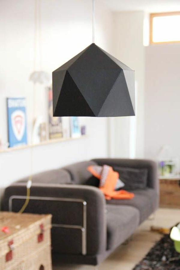 wohnzimmer beleuchtung pendellauchte schwarzer lampenschirm