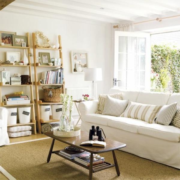 wohnzimmer einrichten sisalteppich weißes sofa