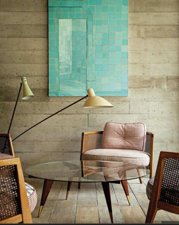 wohnzimmer einrichten vintage möbel runder glastisch