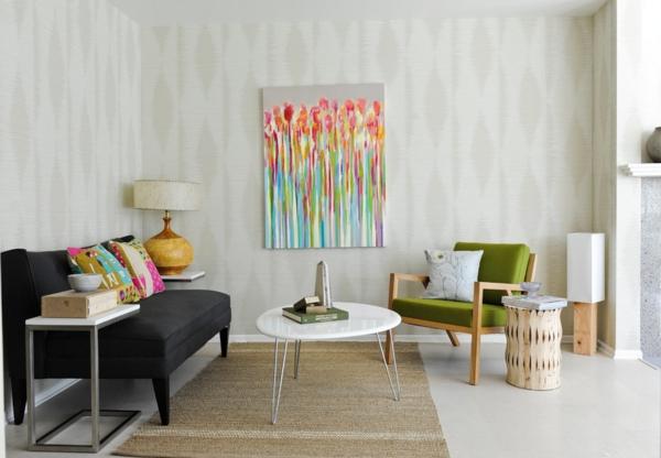 wohnzimmer einrichten vintage möbel sisalteppich