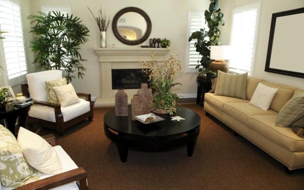 wohnzimmer retro stil:wohnzimmer einrichten vintage stil pflanzen wandspiegel