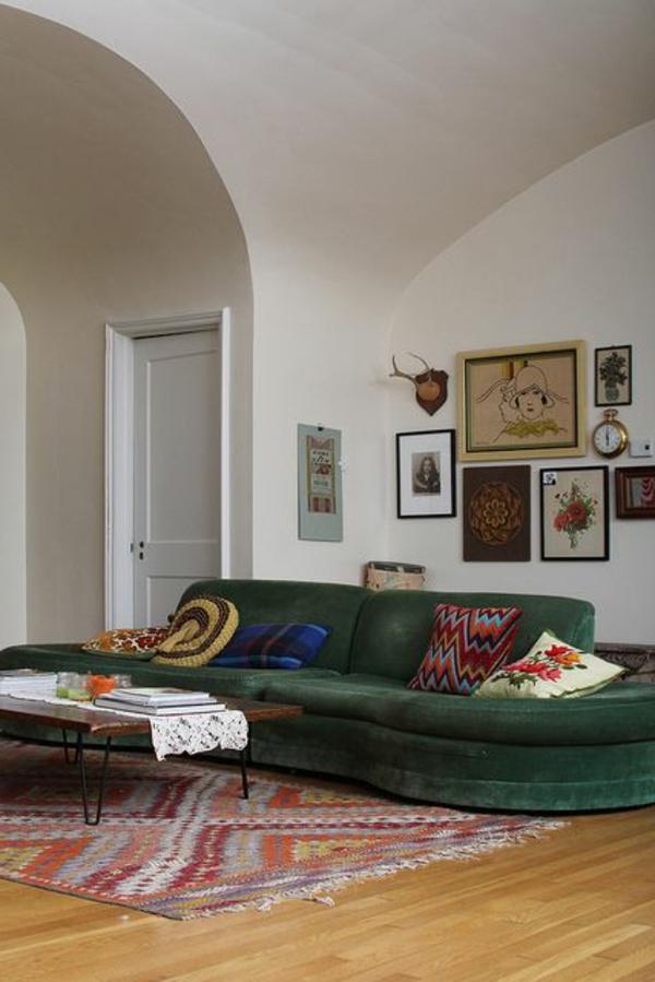 wohnzimmer gestaltung grünes sofa retro stil