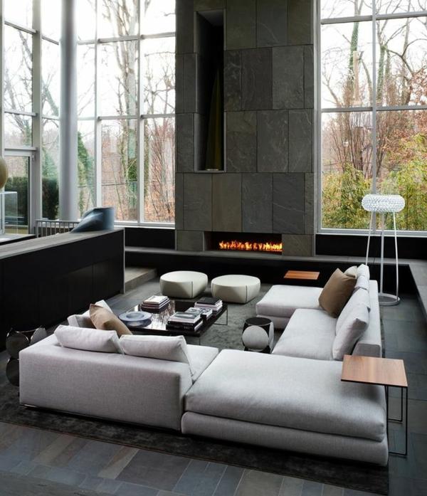 offener kamin im rustikalen wohnzimmer | roomido.com. modernes ...