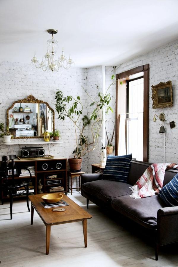 wohnzimmer gestaltung retro stil pflanzen ziegelwände