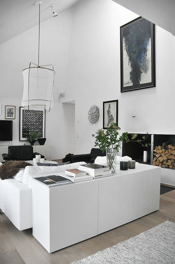wohnzimmer gestaltung weiße einrichtung kamin
