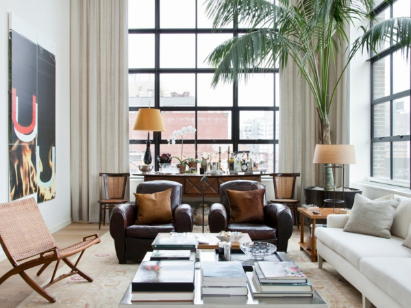 wohnzimmer ledersessel weißes sofa