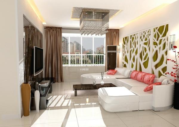 wohnzimmer wände gestalten ausgefallene wanddeko weißes sofa