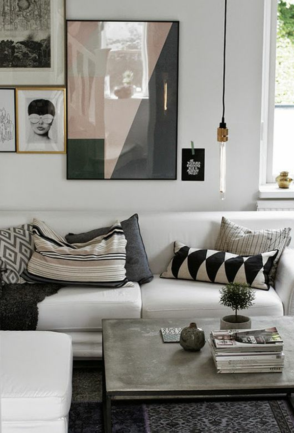 wohnzimmer wände gestalten bilder dekokissen