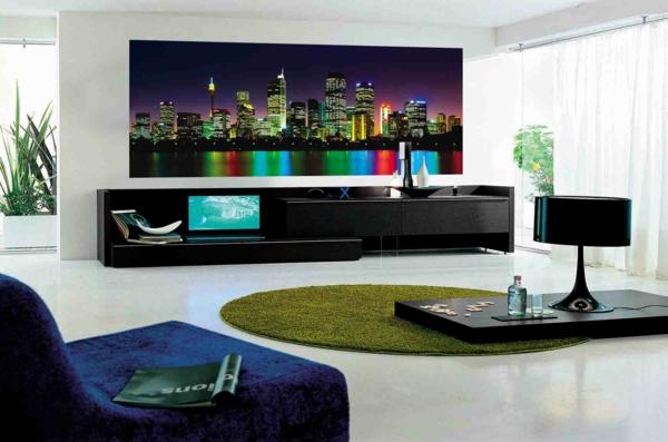 wohnzimmer wände gestalten großstadt wanddeko grüner teppich
