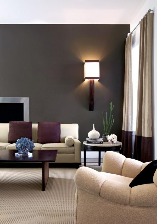 wohnzimmer wände gestalten wandleuchte elegante sofas