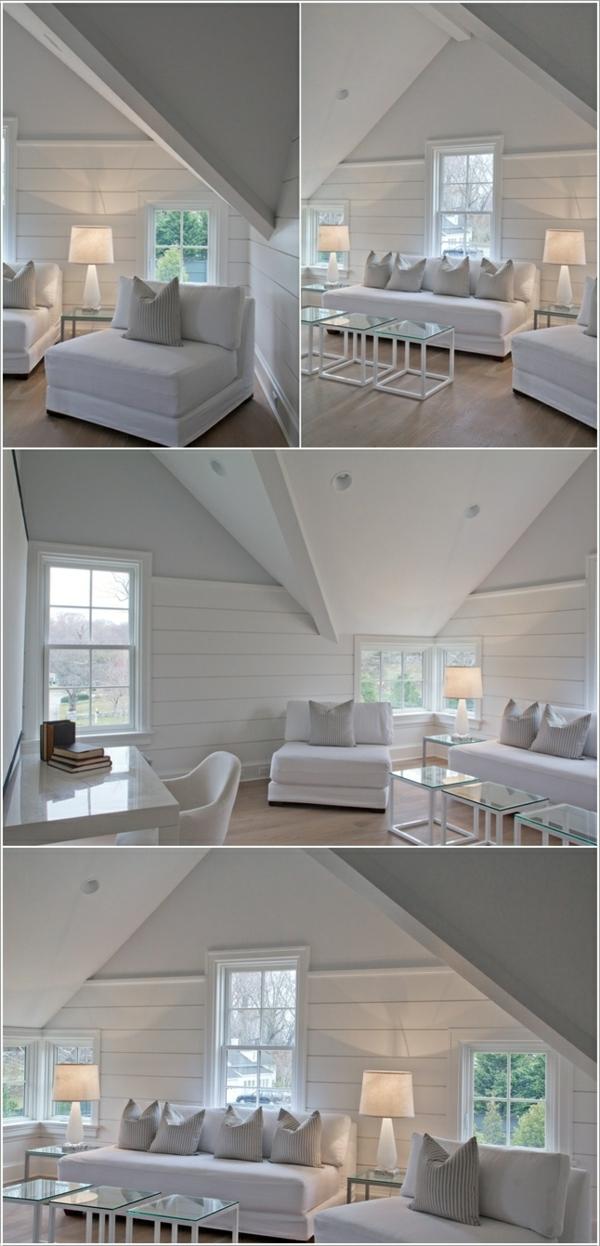 wohnzimmer wände gestalten weiß dach bretter