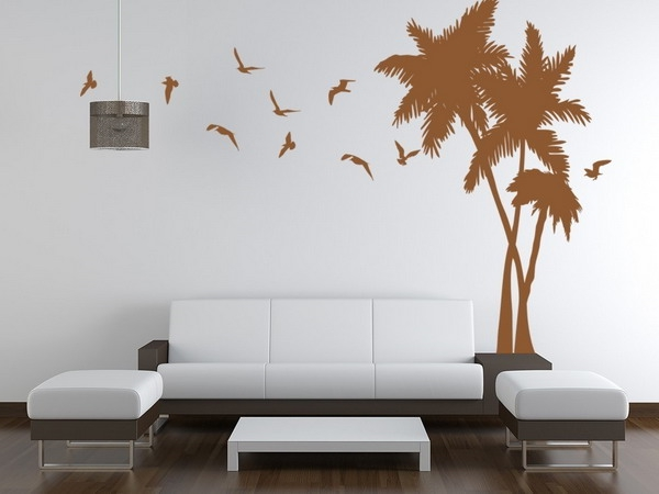wohnzimmer wandgestaltung baum braun weiße wand