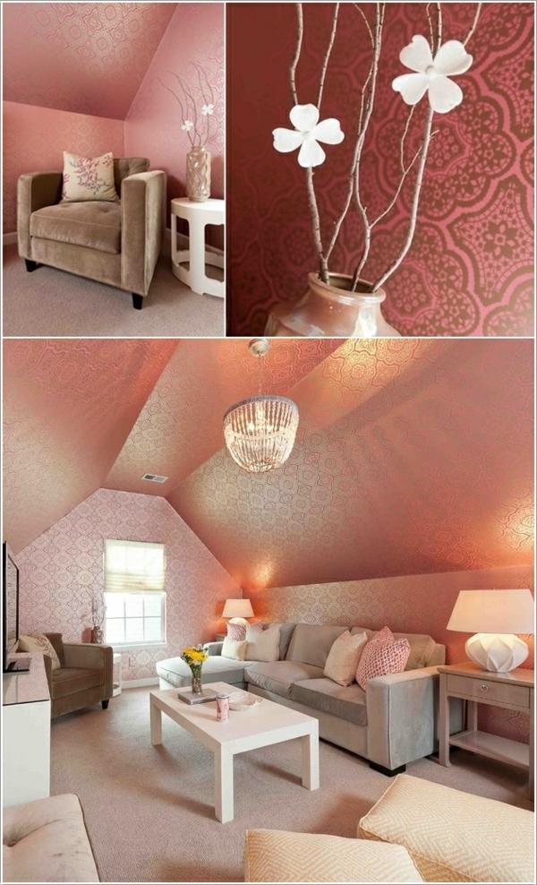 wohnzimmer wandgestaltung elegante tapete leuchter