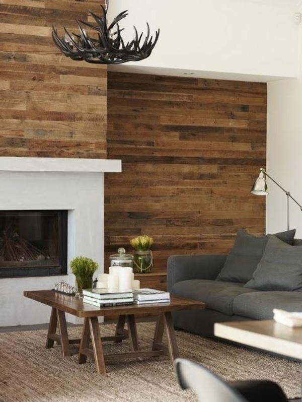 Wohnzimmer wandgestaltung graues sofa ausgefallener leuchter
