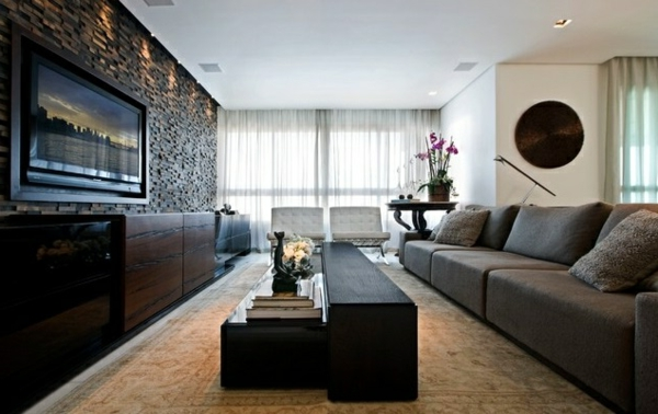 Wohnzimmer ideen wandgestaltung stein  Wohnzimmer Wandgestaltung -Ein paar stilvolle Vorschläge für die Wände
