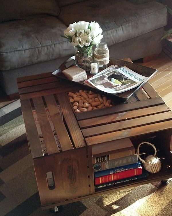 Wohnzimmertisch Selber Bauen Couchtisch Aus Holzkisten Stauraum Fr Bcher
