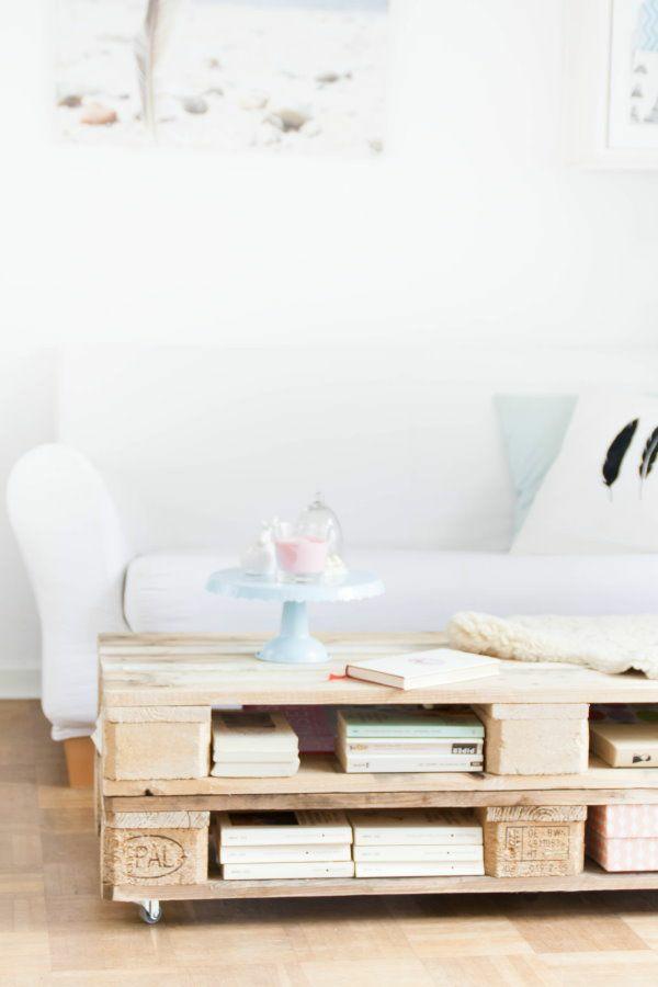 DIY Möbel aus Paletten couchtisch mit unterfach