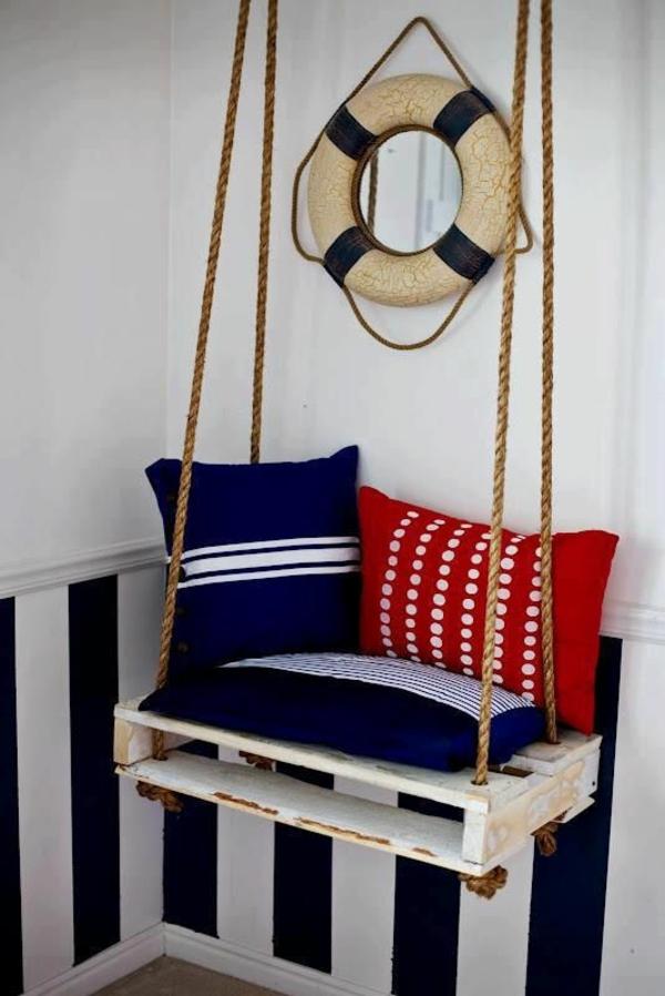 DIY Möbel aus Paletten diy schaukel hängestuhl bauen