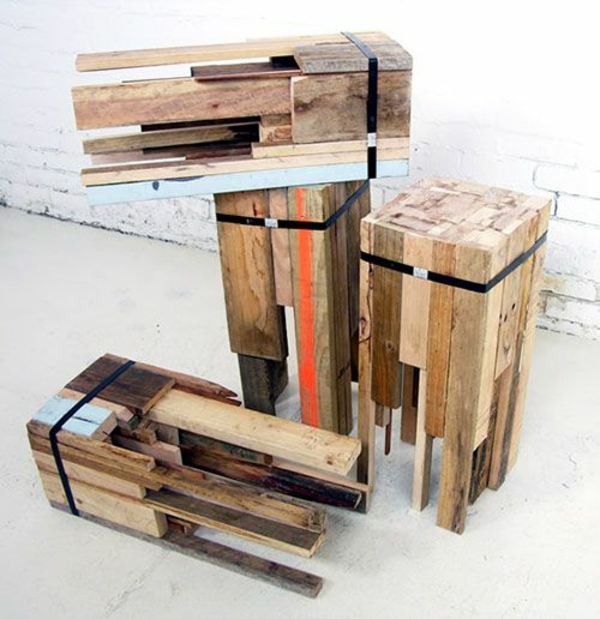 DIY Möbel aus Paletten hocker bauen wohnzimmertische
