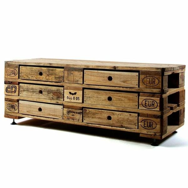 DIY Möbel aus Paletten holz kommode selber bauen