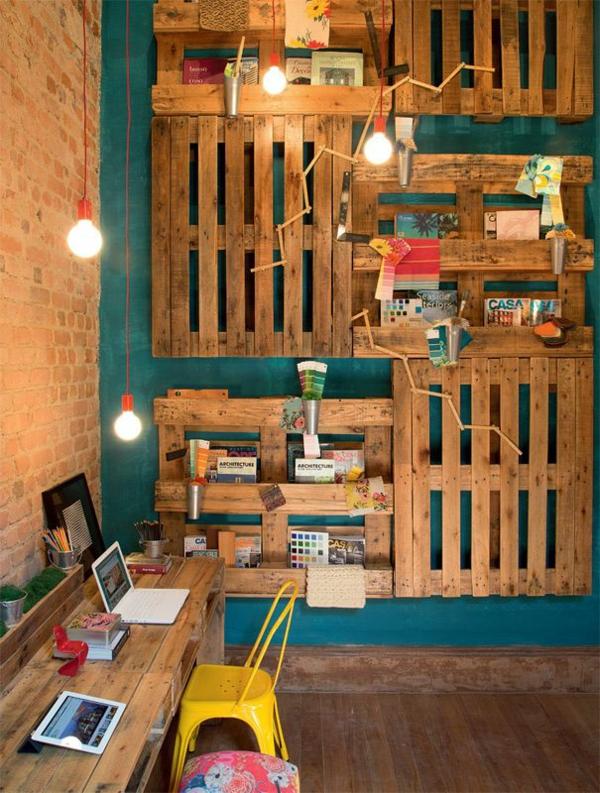 DIY Möbel aus Paletten schreibtisch selber bauen wandregale