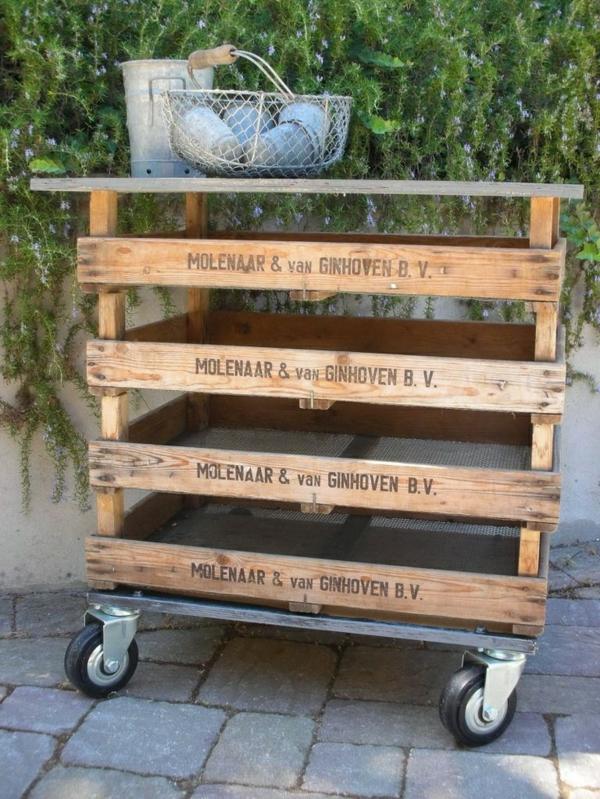 Gartenmöbel aus Paletten gartentisch mit stauraum