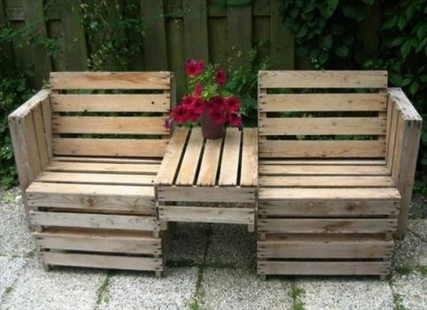 Gartenmöbel aus europaletten sessel mit tisch