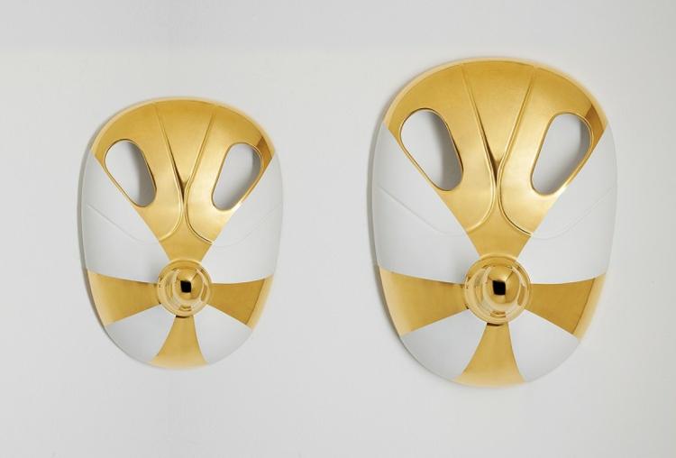 Italienische Möbel Wohnaccessoires Bosa Ceramiche masken goldakzente