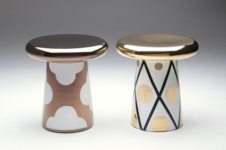 Italienische Möbel Wohnaccessoires Bosa Ceramiche t table gold kupfer