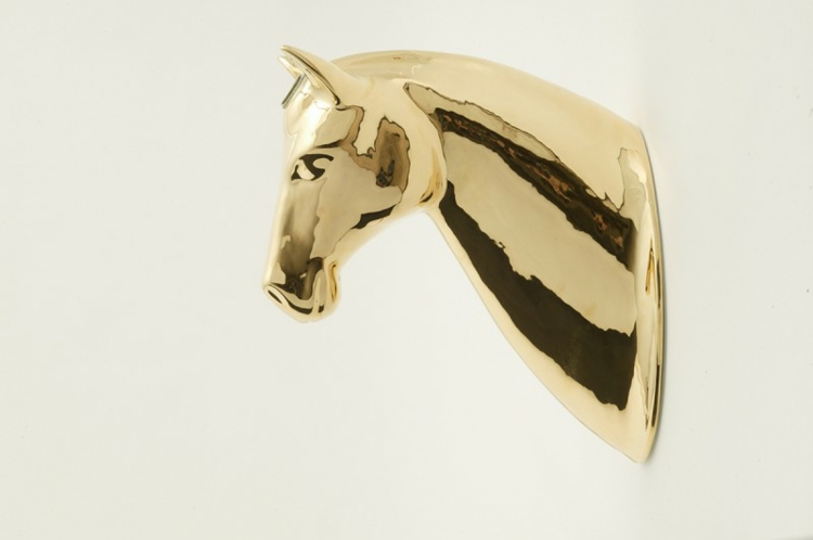 Italienische Möbel Wohnaccessoires Bosa wanddeko gold pferd