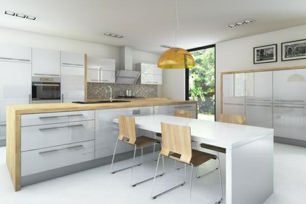 Küchendesign einbauküchen essbereich hochglanz weiße fronten