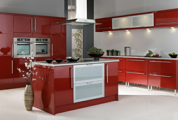 Küchendesign einbauküchen hochglanz rot frühlingszweige
