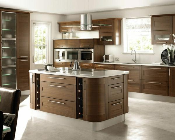 Küchendesign einbauküchen walnussoptik kücheninsel
