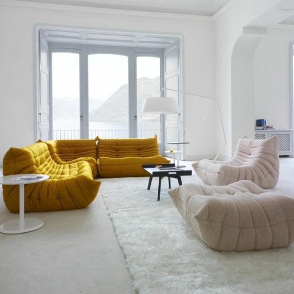 Ligne Roset Sofa designer möbel weiß gelb sessel philippe nigro