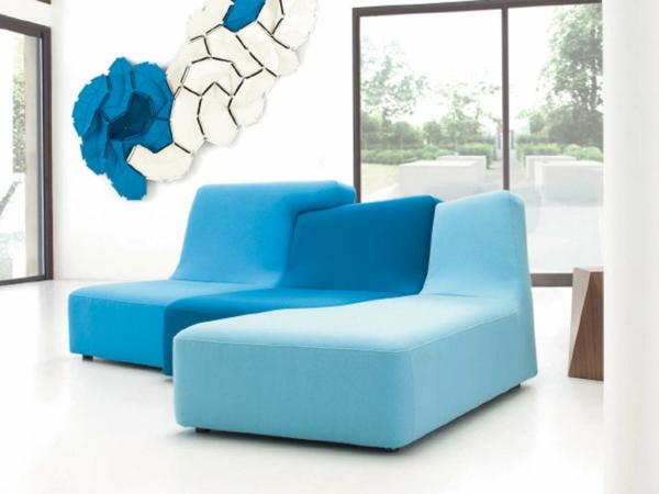 Ligne Roset Sofa modular möbel blau philippe nigro