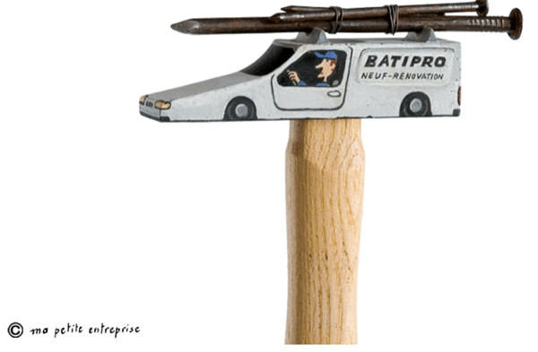 Moderne Skulpturen französische Künstler Gilbert Legrand hammer auto