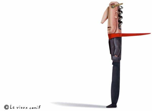 Moderne Skulpturen französische Künstler Gilbert Legrand mann korkenzieher