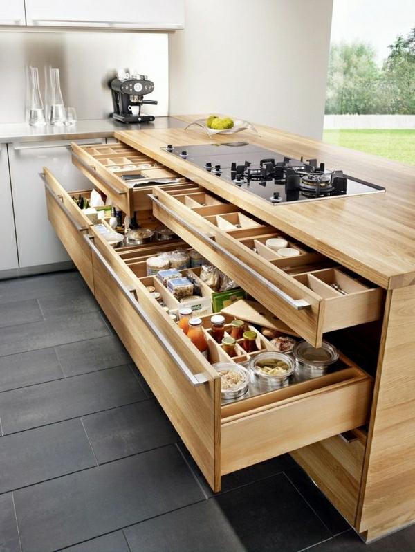Modernes Küchendesign mit Kochinsel küchenblock freistehend schubladen