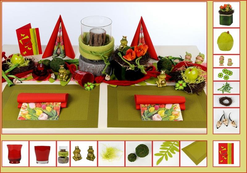Osterdekoration ideen osterdeko basteln tischdeko ideen Ostertisch grün rot