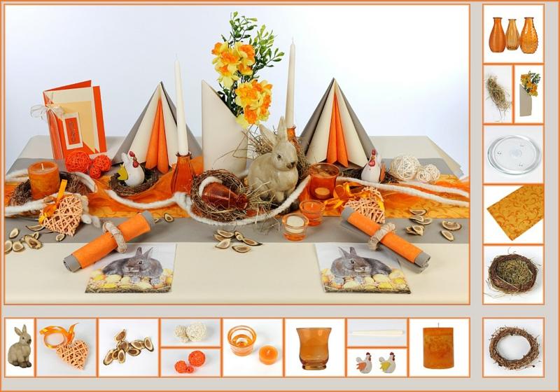 Osterdekoration ideen osterdeko basteln tischdeko ideen Ostertisch orange