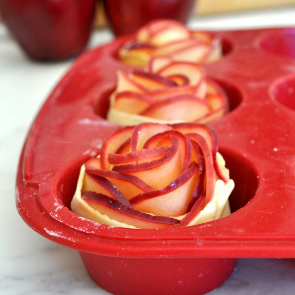 apfel muffins rosenform teig apfelstücke